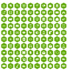 100 telephone icons hexagon green vector