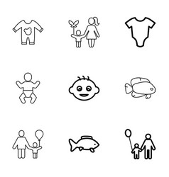 9 little icons vector image