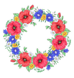 a wreath red poppies and daisies hand drawing vector image