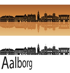 Aalborg skyline in orange vector image