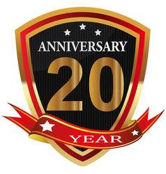 anniversary 20th label with ribbon vector image