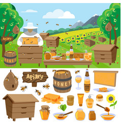 apiary farm honey making icons vector image