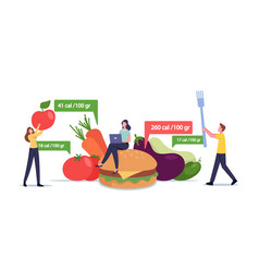 App for nutrition and dieting concept tiny male vector