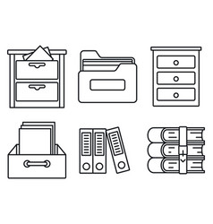 archive library icons set outline style vector image