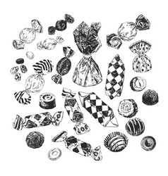 Assorted ink drawn candies vector
