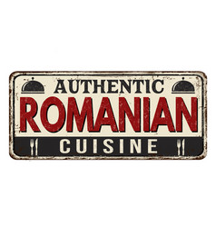 Authentic romanian cuisine vintage rusty metal vector