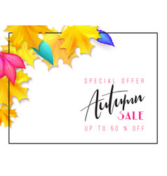 autumn sale banner with hand drawn vector image