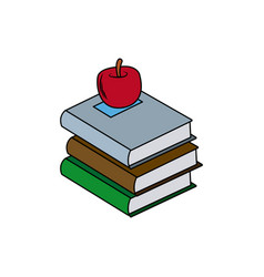 back to school books apple elements vector image
