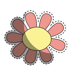 Beautiful flower with oval petals vector