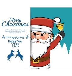 beauty merry christmas card santa bell vector image