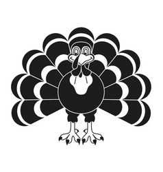 Black and white thanksgiving turkey silhouette vector