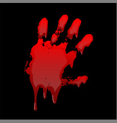 bloody hand print 3d isolated black background vector image