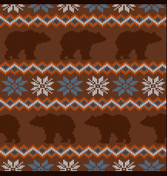 Brown bear and snowflakes seamless winter knitted vector