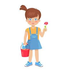 brunette girl holds flower and bucket with shovel vector image