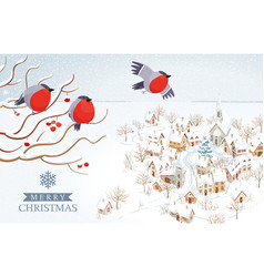 bullfinches flying over winter rural landscape vector image