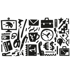business office things - icons vector image vector image
