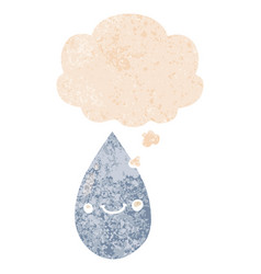 Cartoon cute raindrop and thought bubble in retro vector