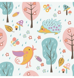 Cartoon forest seamless pattern vector image vector image