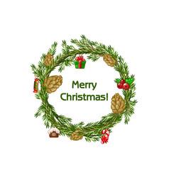 cartoon merry christmas wreath spruce with vector image