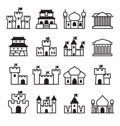 Castle palace icon set 2 vector