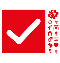 check icon with valentine bonus vector image