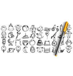 childhood doodle set vector image