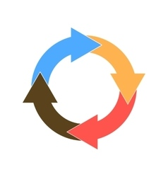 Circle of four colored arrows vector
