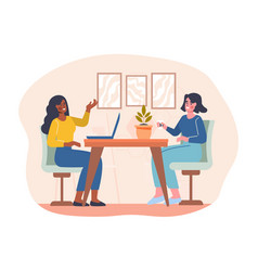 co working area staff sitting in shared workplace vector image