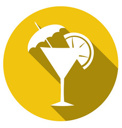 cocktail flat simple icon with long shadow vector image