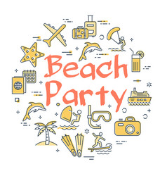 colorful icons in summer beach party theme vector image