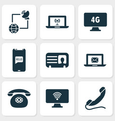 communication icons set with handset greeting on vector image