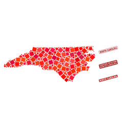 Composition of red mosaic map of north carolina vector