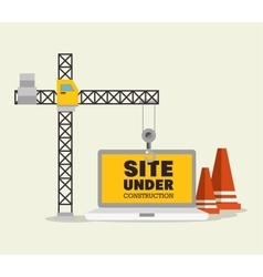 Construction crane and cone site under vector