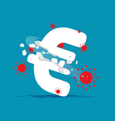 Covid - 19 hitting currency sign economy vector