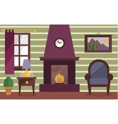 Cozy room with fireplace vector