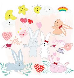 cute rabbit cartoon baby shower theme vector image