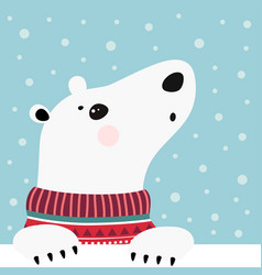 Cute winter card with bear vector