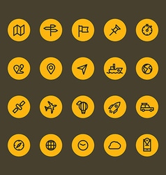 Different line style icons on color circles set vector