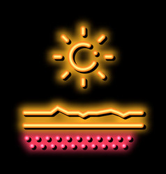 Drying out skin in sun neon glow icon vector
