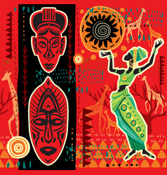 Ethnic background with african motifs vector