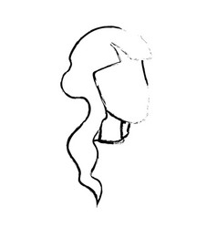 Figure beauty woman face with hairstyle vector