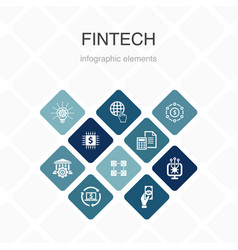 Fintech infographic 10 option color designfinance vector