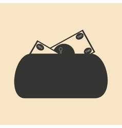 Flat in black and white women purse full money vector