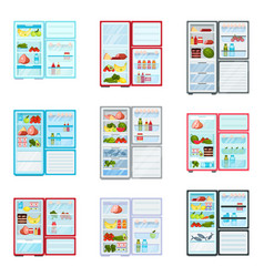 Flat set of open refrigerators filled with vector