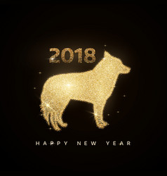 gold dog and new year tree decoration vector image