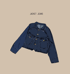 hand-drawn object sketch denim jacket jean vector image