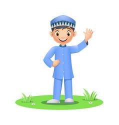 Happy muslim boy standing on grass vector
