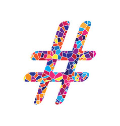 Hashtag sign stained glass vector