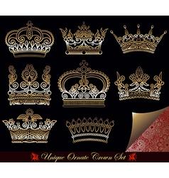 Heraldic gold crown set vector