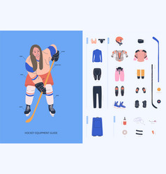 Ice hockey equipment guide for adult female player vector